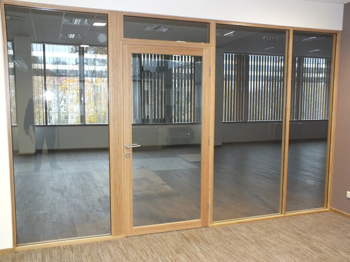 fantastic glass wall with wooden frame 9